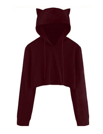 Fashion Red Wine Hooded Cat Ears Exposed Navel Sweater