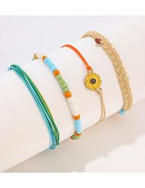 Fashion Color Wax Rope Woven Sunflower Flower Bracelet Set Of 4