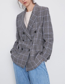 Fashion Lattice Zara Plaid Double Breasted Suit