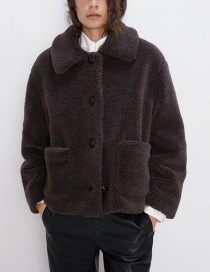 Fashion Dark Brown Fleece Short Coat
