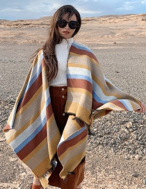 Color Striped Imitation Cashmere Shawl Cloak