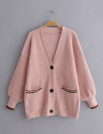 Pink Knit Striped Sweater Cardigan