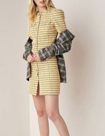Yellow Round Neck Metal Buttoned Knit Dress