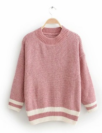 Pink Chenille Striped Sweater