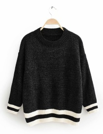 Black Chenille Striped Sweater