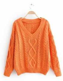 Orange Twisted Rhombic Pullover