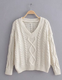 Beige Twisted Rhombic Pullover