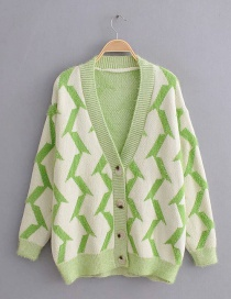 Green Geometric Flower Knit Cardigan