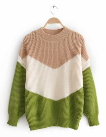 Green V-neck Stitching Sweater