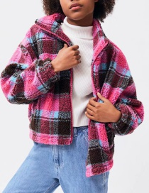 Red Plaid Printed Lamb Coat