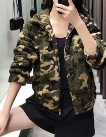 Camouflage Camouflage Lamb Hair Print Jacket