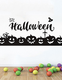 Fashion Multicolor Kst-73 Halloween Pumpkin Emoticon Wall Sticker