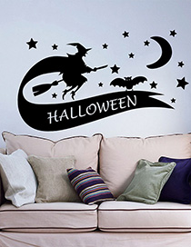 Fashion Multicolor Kst-51 Halloween Witch Broom Green Wall Sticker
