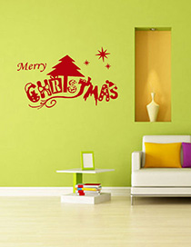 Fashion Red Ss-29 Christmas Pvc Wall Sticker