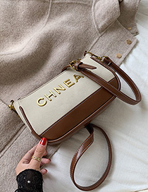 Fashion Creamy-white Scrub Splicing Shoulder Messenger Bag