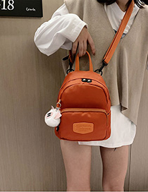 Fashion Orange Splicing Frosted Label Nylon Cloth Backpack