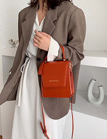 Fashion Pumpkin Red Bronzed Letter Flip Shoulder Hand Crossbody Bag
