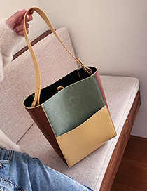Fashion Green With Khaki Contrast Stitching Shoulder Bag