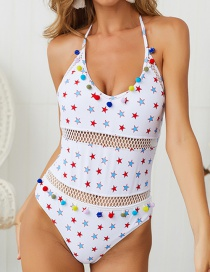 Star Print Halter Strap Backless One-piece Swimsuit