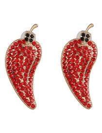 Fashion Red Studded Small Pepper Vegetable Earrings