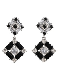 Fashion Black + White Full Diamond Square Geometric Diamond Earrings
