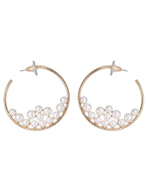 Fashion Gold C-shaped Metal Inlaid Pearl Earrings