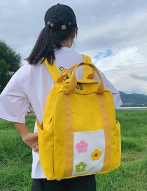 Fashion Yellow Flower Canvas Portable Backpack