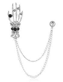 Fashion Silver Alloy Diamond Studded Ghost Hand Brooch