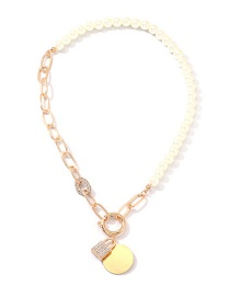 Fashion Gold Metal Chain With Diamond Lock Pearl Necklace