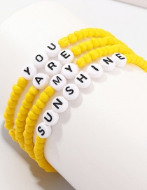 Fashion Yellow Beizhu Four-layer Letter Bracelet Set