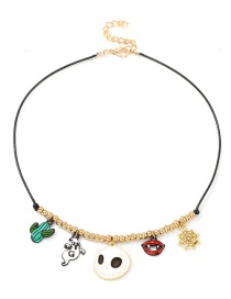 Fashion Gold Beaded Leather Rope Kiddie Necklace