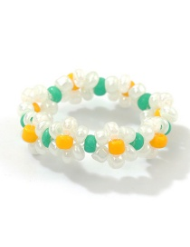 Fashion Color Rice Beads Flower Ring