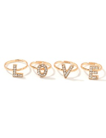Fashion Gold Love Diamond Open Ring Set Of 4