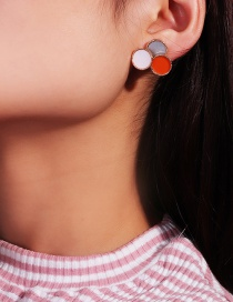 Fashion Round Color Geometric Drop Oil Alloy Earrings