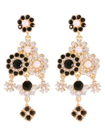 Fashion Black Alloy Diamond Flower Pearl Stud Earrings
