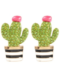 Fashion Gold Alloy Diamond Cactus Earrings