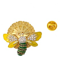 Fashion Gold Bee Gem Flower Pearl Brooch