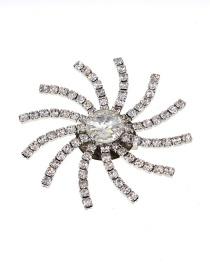Fashion Silver Diamond Sun Flower Brooch