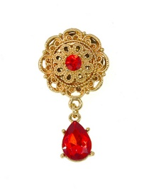 Fashion Gold Openwork Flower Drop Brooch