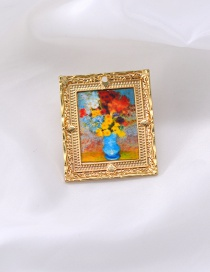 Fashion Golden E Oil Painting Brooch