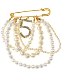 Fashion Gold Pearl Tassel Flash Drill Number 5 Brooch
