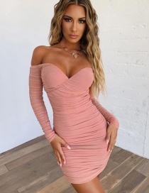 Fashion Pink Open Back Mesh Pleated Dress
