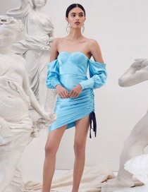 Fashion Blue One-shoulder Strapless Strap Dress