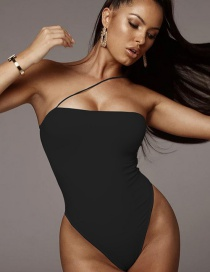 Fashion Black Strap One-shoulder Bodysuit