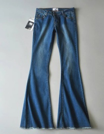 Fashion Dark Blue Washed Stretch Flare Jeans