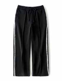 Fashion Black Sequined Stitching Wide-leg Pants