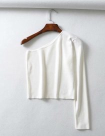 Fashion White Diagonal Knit T-shirt