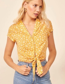 Fashion Yellow Floral Print Lace Up Lapel Shirt