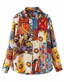 Fashion Color Oil Painting Van Gogh Sunflower Print Shirt