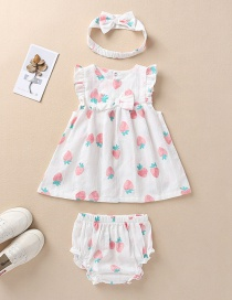 Fashion White Strawberry Bow Dress Panties Hair Band Children's Suit